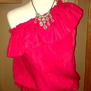 Silk red ruffle top